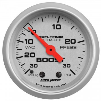 Autometer Ultra-Lite 52mm 30 PSI Mechanical Boost Gauge