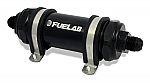 Fuelab 828 In-Line Fuel Filter Long -6AN In/Out 6 Micron Fiberglass - Black