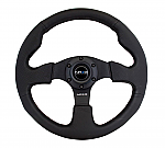 NRG Reinforced Steering Wheel (320mm) Black Leather w/Black Stitching Package